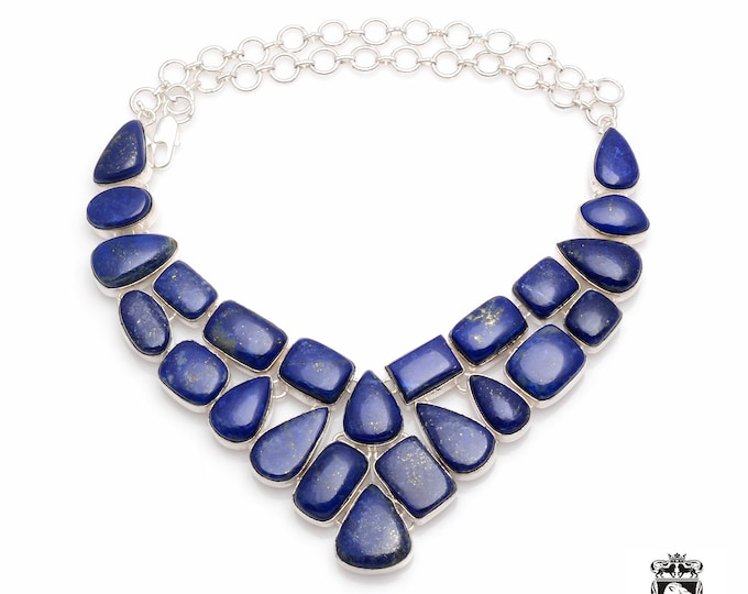 Genuine GOLD Dotted Afghan LAPIS LAZULI Uniform Pattern Formation 925 Sterling Silver + Copper Bonded Necklace & Worldwide Shipping N0072