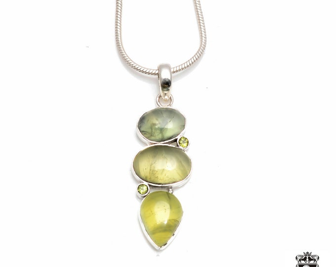 Superb Healing Factor! Uganda Mined PREHNITE Triple Drop Down Fine 925+ 975 S0LID Sterling Silver Pendant + Snake Chain P6063