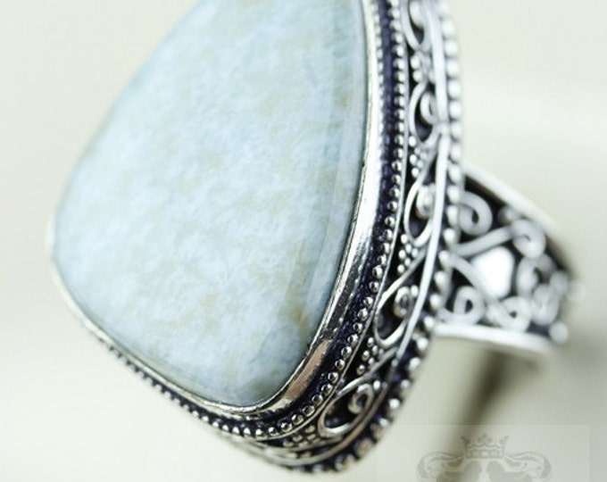 SIZE 10.5 Genuine Caribbean Larimar VINTAGE Style 925 S0LID (Nickel Free) Sterling Silver Vintage Setting Ring & FREE Shipping r2009