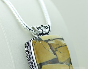 BRECCIATED JASPER 925 S0LID Sterling Silver Vintage Style Setting Pendant + 4mm Snake Chain & Free Worldwide Shipping p2416