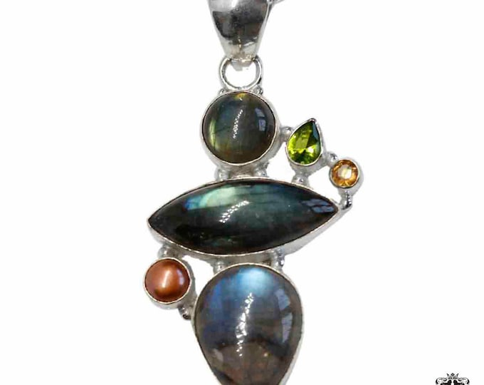 Blue Shine Labradorite Peridot and Pearl 925 Sterling Silver + BONDED Copper Pendant Snake Chain & Worldwide Shipping p4838