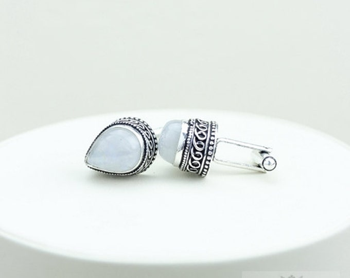Moonstone Vintage Filigree Antique 925 Fine S0LID Sterling Silver Men's / Unisex CUFFLINKS k94