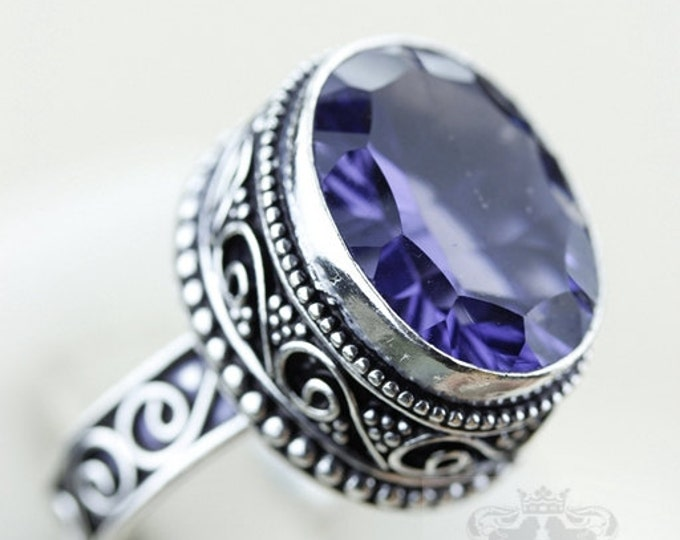 SIZE 7 Lab Created 32 Carats Iolite VINTAGE Style 925 S0LID (Nickel Free) Sterling Silver Vintage Setting Ring & FREE Shipping r1979