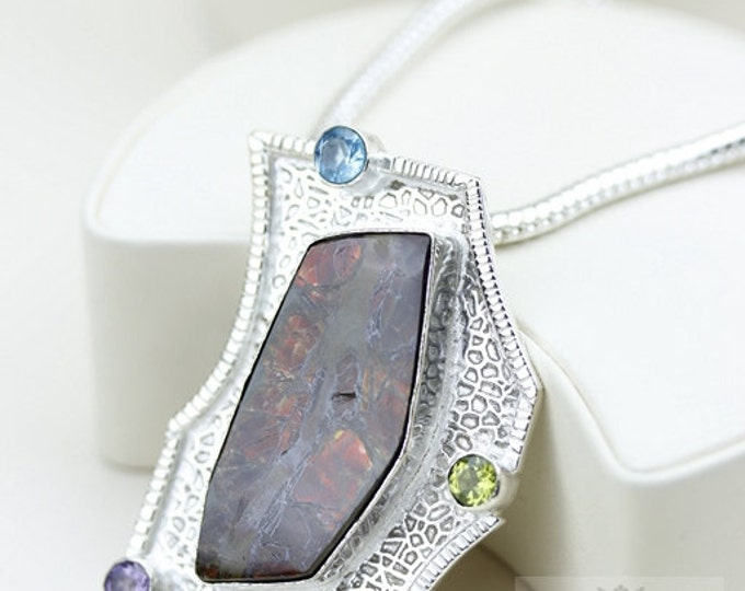 Hammered Finish!! GENUINE Canadian AMMOLITE 925 Solid Sterling Silver Pendant + 4mm Snake Chain & FREE Worldwide Shipping P1459