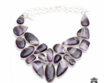 WOW Factor! Multi Layered Best Pattern CHEVRON AMETHYST 925 Sterling Silver + Copper Bonded Necklace & Worldwide Express Shipping N0071