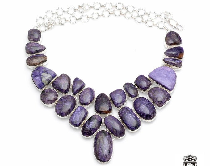 Stunning Grade Supreme Quality AAA RUSSIAN CHAROITE 925 Sterling Silver + Copper Bonded Necklace & Worldwide Express Shipping N0046