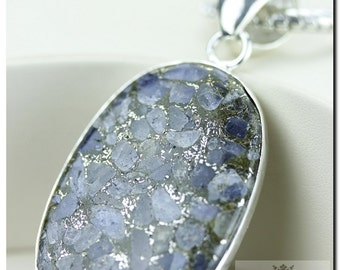 Watermelon Tourmaline in Pyrite Mineral Formation 925 SOLID Sterling Silver Pendant + 4mm Snake Chain  P1168