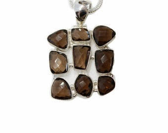 Assorted Smoky Topaz 925 Sterling Silver + BONDED Copper Pendant Snake Chain & Worldwide Shipping p4546