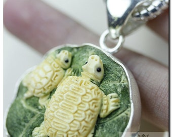 Mississippi Map Turtles Basking on a Lilypad CARVING 925 SOLID Sterling Silver Pendant & 4mm Snake Chain + FREE Worldwide Shipping