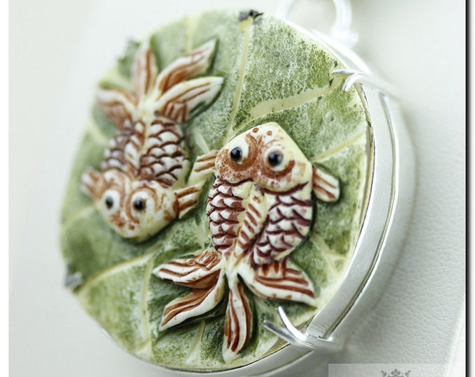 2 Koi Fish on Top of Lilypad Carving 925 SOLID Sterling Silver Pendant + 4mm Snake Chain &  Worldwide Shipping