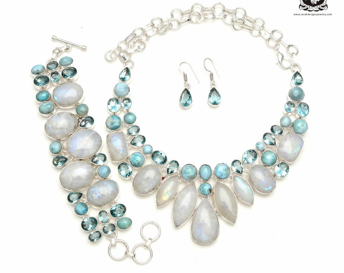 Classy Concept! Moonstone Caribbean LARIMAR 925 Sterling Silver + Copper Bonded Necklace Bracelet & Earrings ALL Included SET600