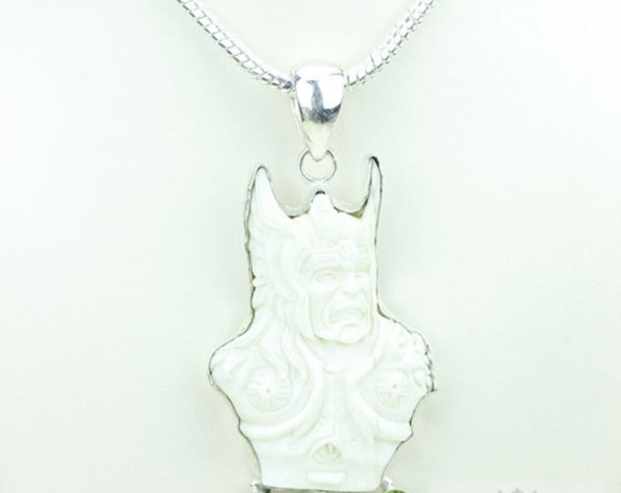 Viking Mythology Norse God THOR TOTEM Goddess Face Moon Face Bone Carving 925 S0LID Sterling Silver Pendant + 4MM Chain p3912