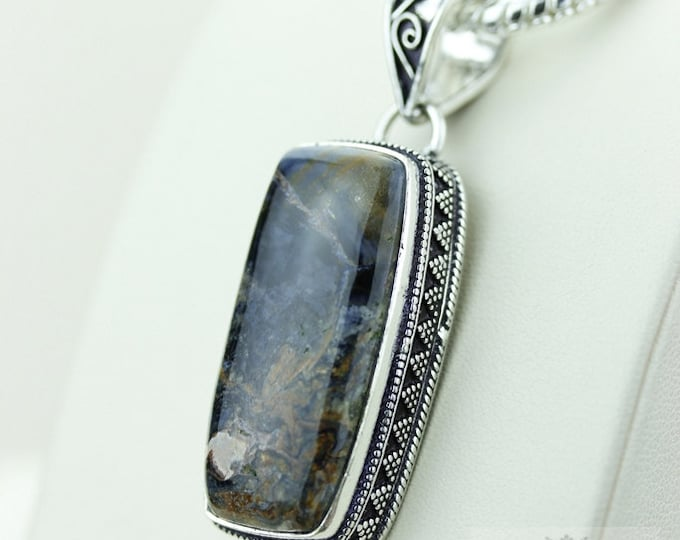 NAMIBIAN PIETERSITE  925 S0LID Sterling Silver Vintage Style Setting Pendant + 4mm Snake Chain & Free Worldwide Shipping p2544
