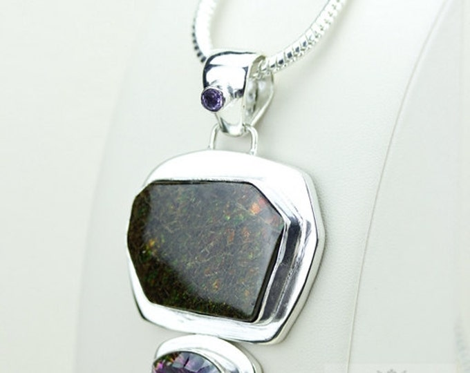 Mystic Topaz GENUINE Canadian AMMOLITE 925 Solid Sterling Silver Pendant + 4mm Snake Chain & FREE Worldwide Shipping P1616