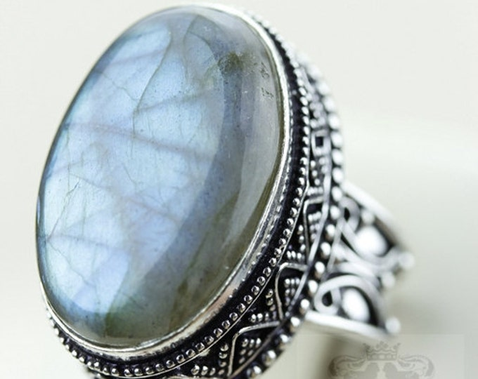 SIZE 7.5 Canadian Labradorite VINTAGE Style 925 S0LID (Nickel Free) Sterling Silver Vintage Setting Ring & FREE Worldwide Shipping r1980