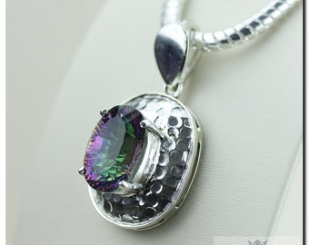 31 Carats Genuine Mystic Topaz 925 SOLID Sterling Silver Pendant + 4mm Snake Chain & FREE Worldwide Shipping