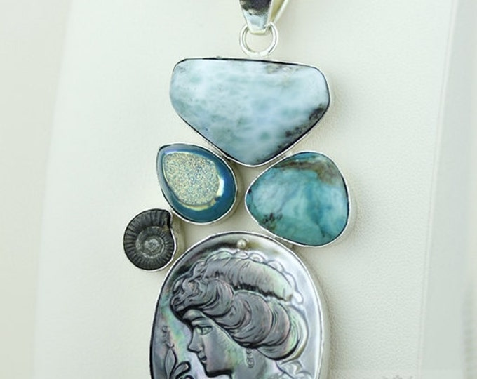 Abalone Cameo Larimar PYRITE AMMONITE TURQUOISE 925 S0LID Sterling Silver Pendant + 4mm Snake Chain & Free Worldwide Shipping mp330