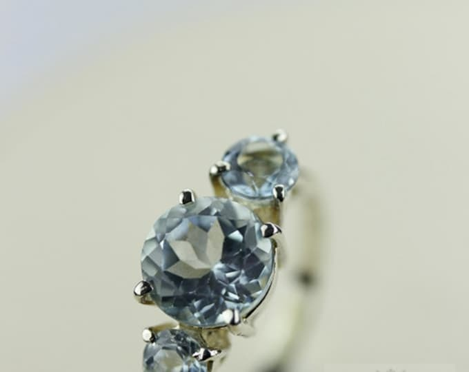 SIZE 6.5 AQUAMARINE (Nickel Free) 925 Fine Sterling Silver Ring & Free Worldwide Express Shipping r131