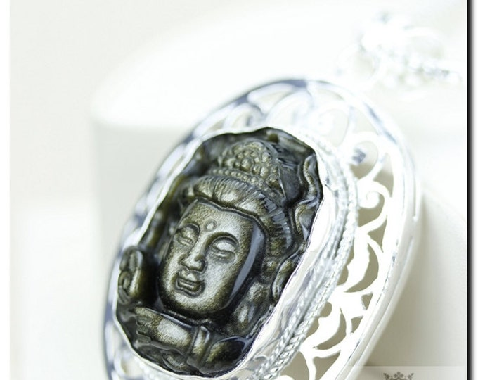 French Filigree Setting! OBSIDIAN Carved BUDDHA 925 Solid Sterling Silver Pendant + 4mm Snake Chain & FREE Worldwide Shipping P2025