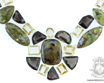 Large Size!! RHYOLITE Rainforest Jasper Citrine Smokey Topaz 925 SOLID Sterling Silver Necklace