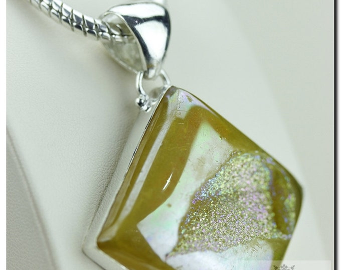 Unique Shape Sunset Titanium Window Drusy Druzy 925 SOLID Sterling Silver Pendant + 4mm Snake Chainp1250