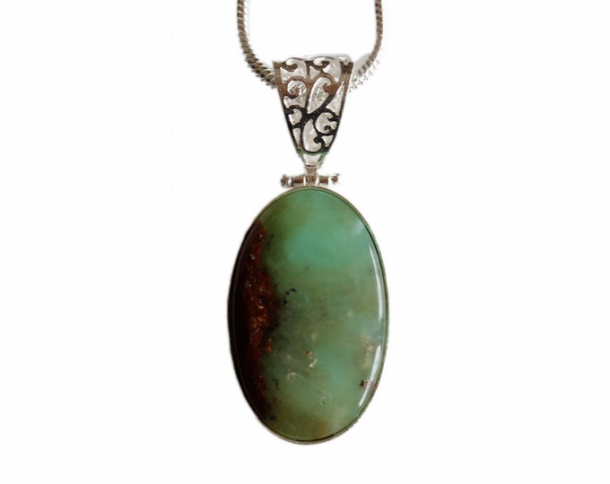 Boulder Chrysoprase Vintage Antique 925 Sterling Silver + BONDED Copper Pendant Snake Chain & Worldwide Shipping p4424