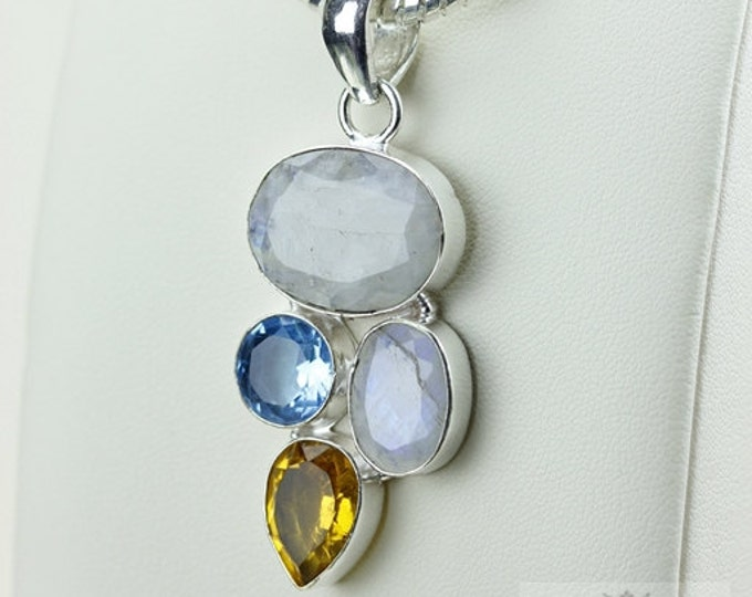 Moonstone Citrine Blue Topaz 925 S0LID Sterling Silver Pendant + 4mm Snake Chain & Free Worldwide Shipping p2956