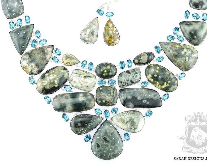 On Sale OCEAN JASPER AQUAMARINE 925 Solid Sterling Silver Necklace  Set 13