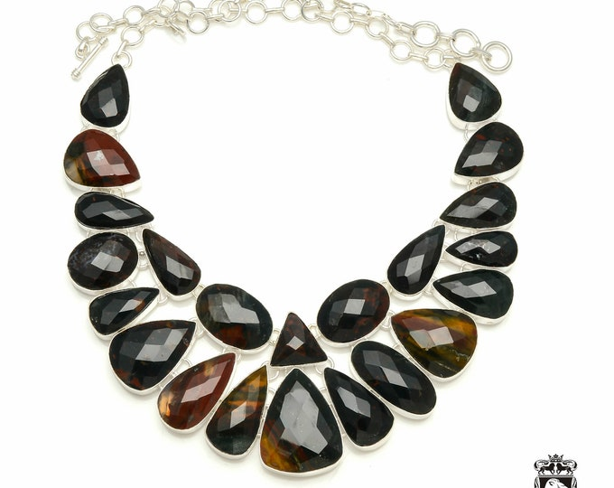 Irish FACETED BLOODSTONE 925 Sterling Silver + Copper Bonded Necklace & Worldwide Express Tracked Shipping N6104