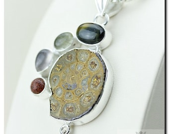 Cute Stuff MADAGASCAR AMMONITE FOSSIL925 Solid Sterling Silver Pendant + 4mm Snake Chain & Free Worldwide Shipping P1752