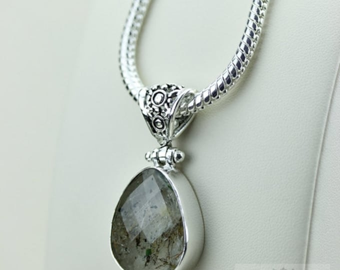 Dense Formation! Rutile RUTILATED QUARTZ 925 S0LID Sterling Silver Pendant + 4MM Snake Chain  P3528