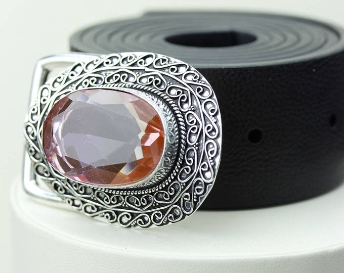 86 Carays IRRADIATED Sunset MYSTIC Topaz Vintage Filigree Antique 925 Fine S0LID Sterling Silver + Copper BELT Buckle T75