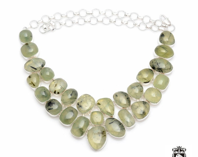 Stunning Quality! AAA Grade Deep Green Maximum Inclusions South African Natural PREHNITE 925 Sterling Silver + Copper Bonded Necklace N0053