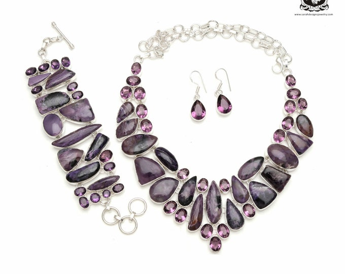 Aim for the best! Russian CHAROITE Amethyst 925 Sterling Silver + Copper Bonded Necklace Bracelet & Earrings ALL Included SET577