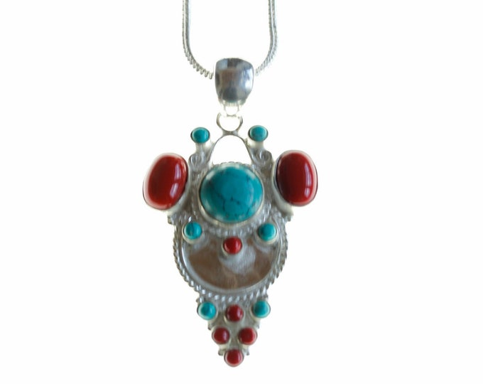 Big Smile! Turquoise and Coral 925 Sterling Silver + BONDED Copper Pendant Chain & Worldwide Shipping p4482