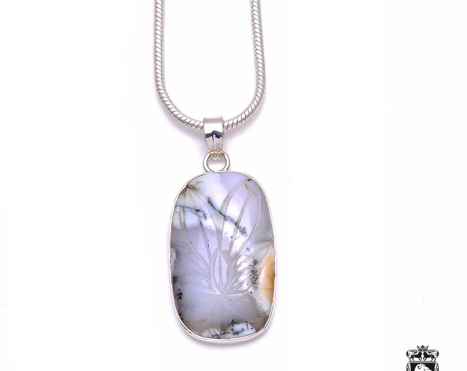 Carved DENDRITIC Opal MERLINTE Fine 925+ 975 S0LID Sterling Silver Pendant + Snake Chain P6211
