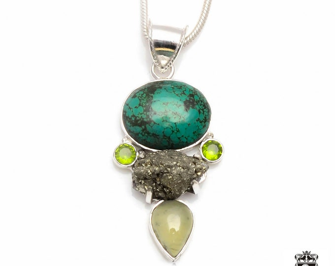 Tibetan Turquoise Wyoming Pyrite PREHNITE Peridot Fine 925+ 975 S0LID Sterling Silver Pendant + Snake Chain P6043