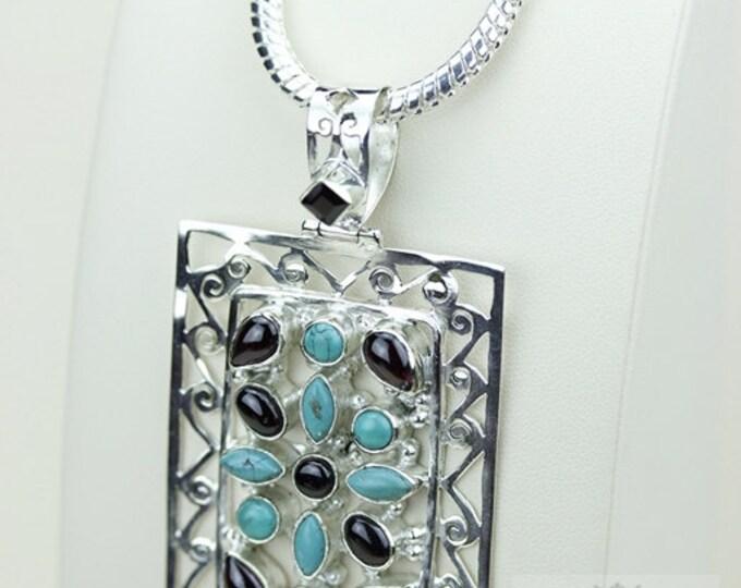 Filigree Setting! Rhodolite Garnet Tibetan Turquoise 925 S0LID Sterling Silver Pendant + 4MM Snake Chain & Free Worldwide Shipping P3466