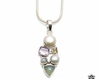 AVENTURINE Pearl Amethyst Citrine Moonstone Fine 925+ 975 S0LID Sterling Silver Pendant + Snake Chain P6106