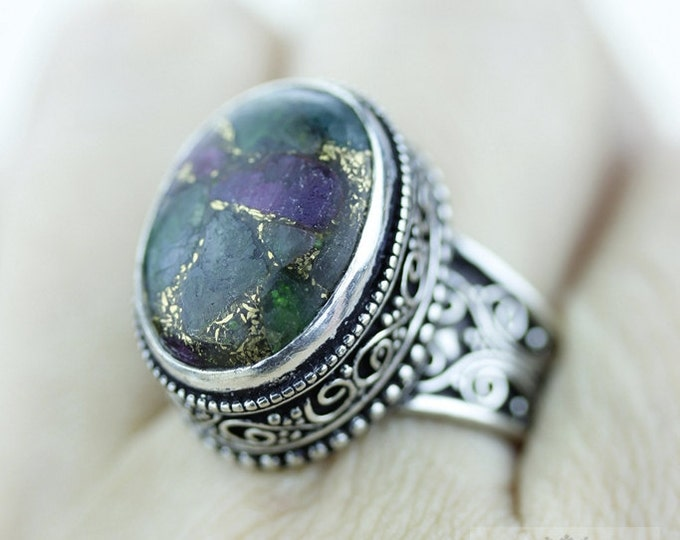 Size 8.5 TOURMALINE Aggregate 925 S0LID (Nickel Free) Sterling Silver Vintage Setting Ring r1815