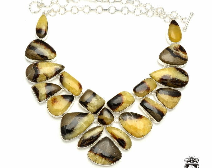 SEPTARIAN NODULE DRAGONSTONE Dragon Stone 925 Sterling Silver + Copper Bonded Necklace & Worldwide Express Tracked Shipping N6116