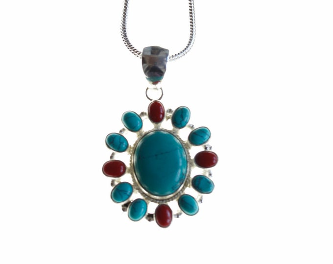 Floral Turquoise and Coral 925 Sterling Silver + BONDED Copper Pendant Chain & Worldwide Shipping p4483