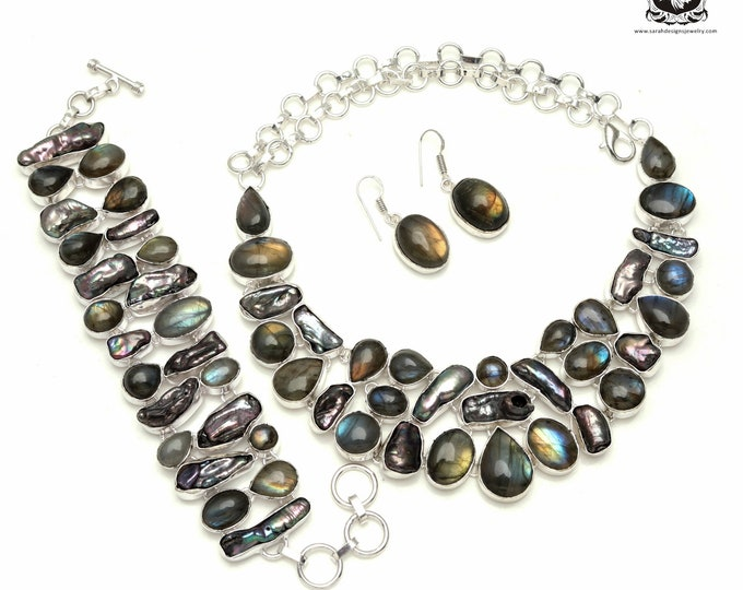 Budget Conscious! Labradorite PEARL 925 Sterling Silver + Copper Bonded Necklace Bracelet & Earrings ALL Included SET542