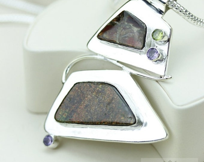 Fancy Design! GENUINE Canadian AMMOLITE 925 Solid Sterling Silver Pendant + 4mm Snake Chain & FREE Worldwide Shipping P1559