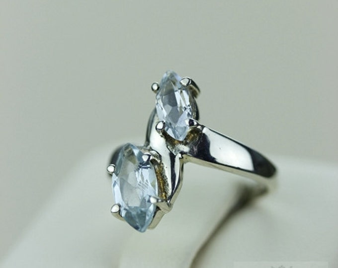 SIZE 4 MARQUISE AQUAMARINE (Nickel Free) 925 Fine S0LID Sterling Silver Ring & Free Worldwide Express Shipping r717
