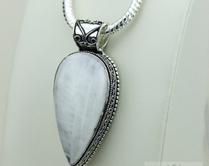Tear Drop Moonstone Vintage Filigree Setting 925 S0LID Sterling Silver Pendant + 4mm Snake Chain & FREE Shipping p3269