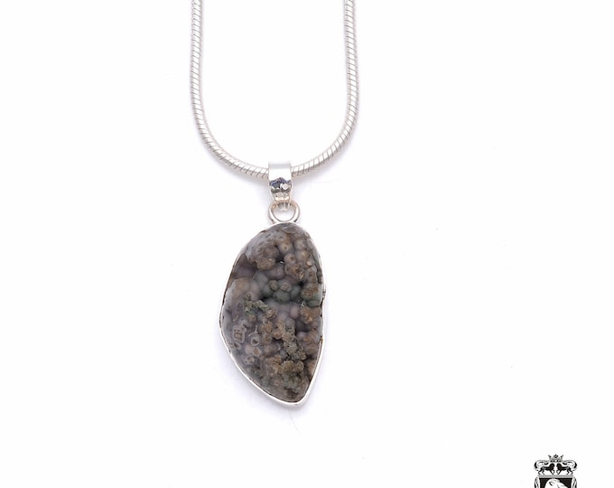 Grape Agate Fine 925+ 975 S0LID Sterling Silver Pendant + Snake Chain P6364