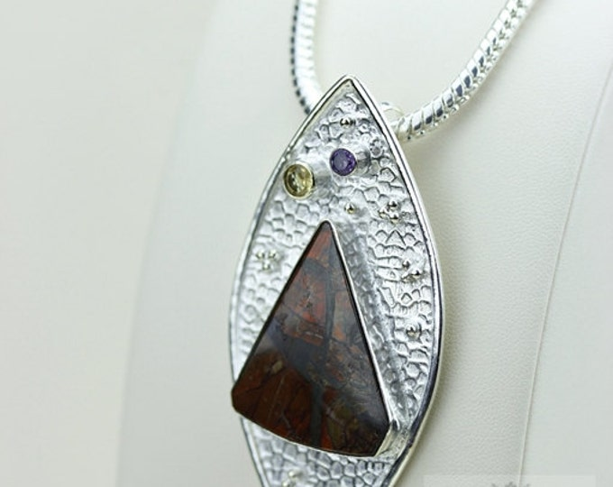 Hammered Finish! GENUINE Canadian AMMOLITE 925 Solid Sterling Silver Pendant + 4mm Snake Chain & FREE Worldwide Shipping P1471