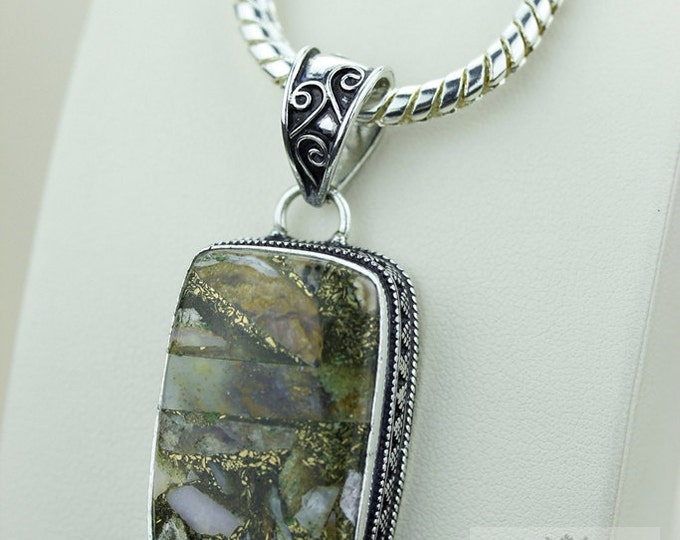 TOURMALINE AGGREGATE VINTAGE Style Setting 925 Solid Sterling Silver Pendant + 4mm Snake Chain p2208