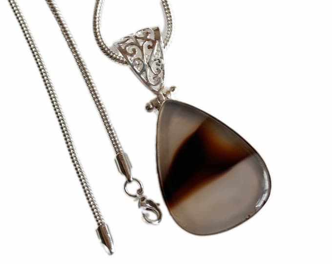 Banded Agate Vintage Antique 925 Sterling Silver + BONDED Copper Pendant Snake Chain & Worldwide Shipping p4429